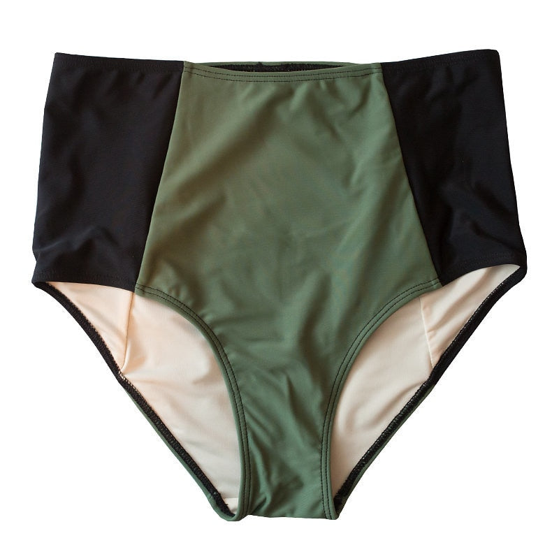 *FINAL SALE* Mid-Rise Contrast Bottoms - Dark Olive / Black