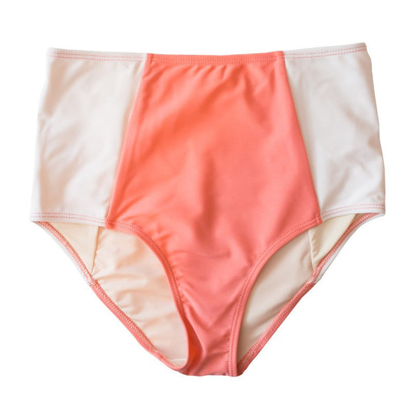 *FINAL SALE* Mid-Rise Contrast Bottoms - Coral Pink/ White
