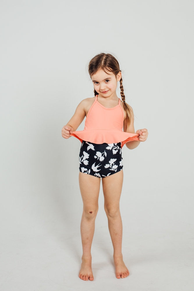 Mini High-Waisted Bottoms - Black White Birds