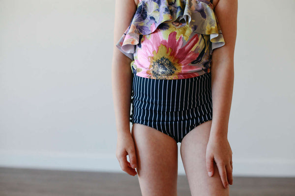 Mini High-Waisted Bottoms - Navy Stripe