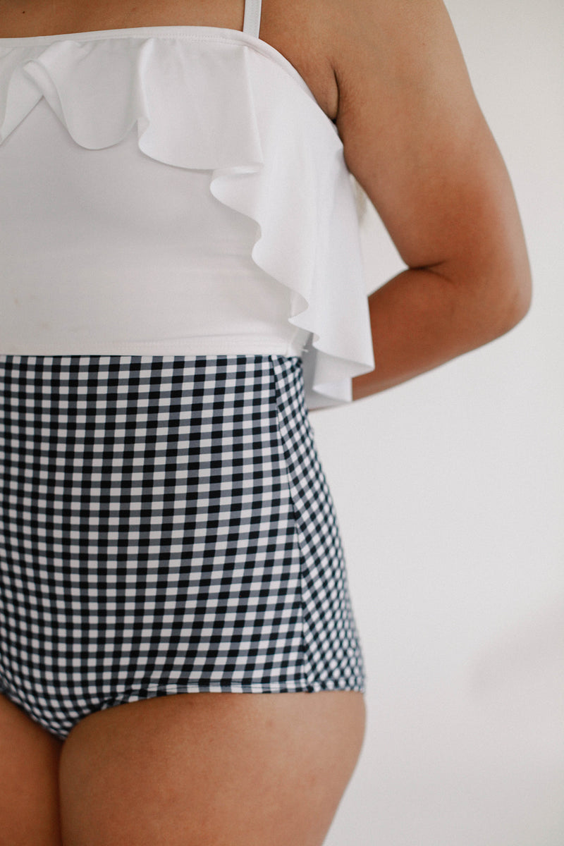 High-Waisted Bottoms - Gingham Black/White
