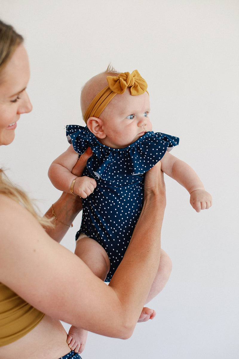 June Marie Ruffled One Piece - Ocean Dot