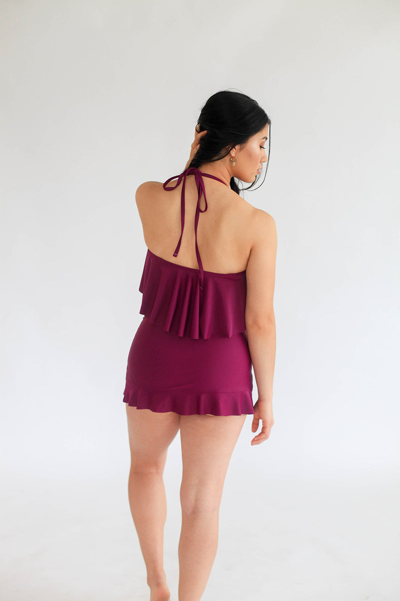 High-Waisted Swim Skirt/Cover-up - Dahlia