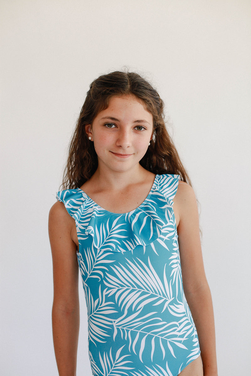 June Marie Ruffled One Piece - Blue Fern