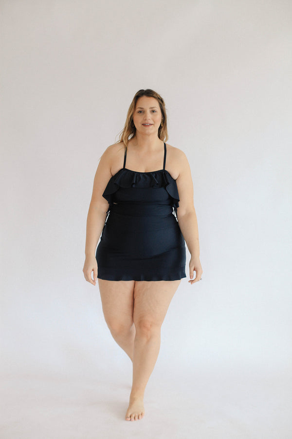 High Waisted Swim Skirt/ cover up - Black