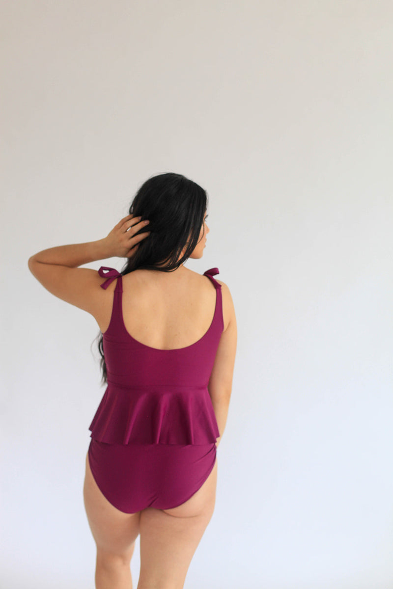 June Tied Shoulder Peplum Top - Dahlia