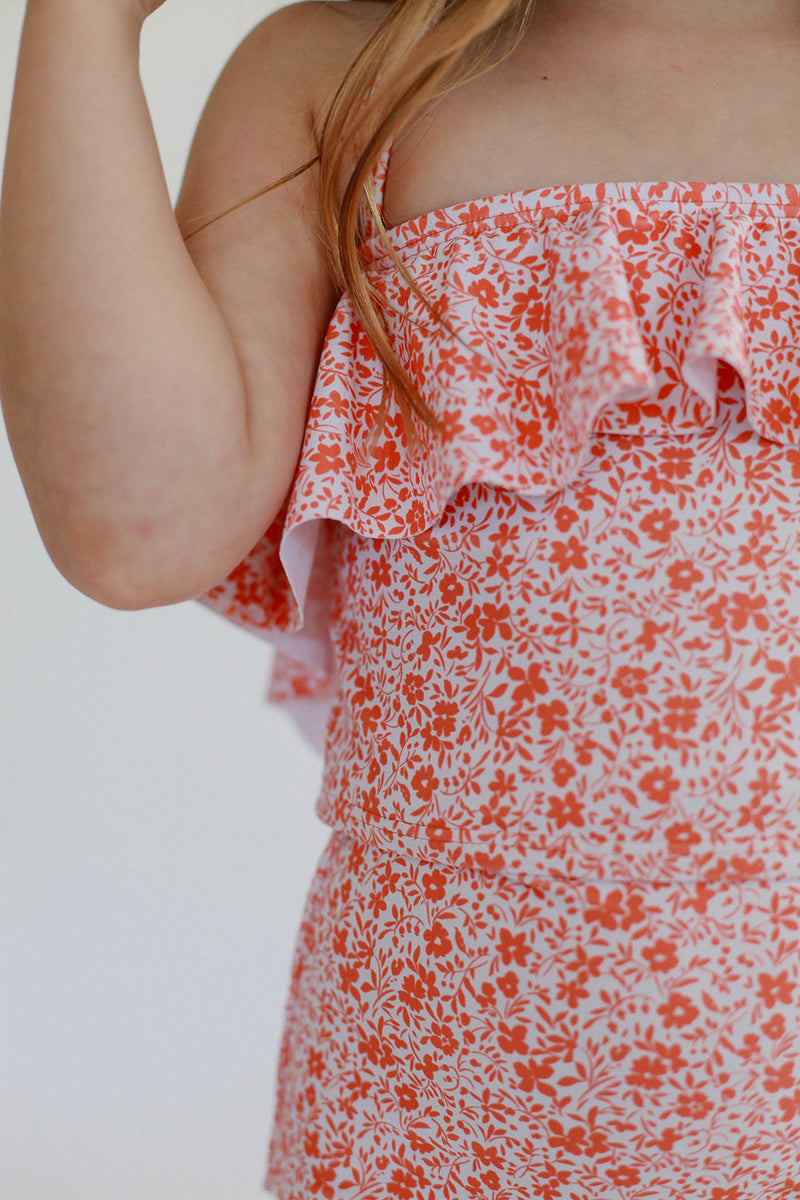 Mini Mary Top - Bright Pink Floral