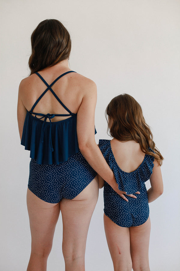 High-Waisted Bottoms - Ocean Dot