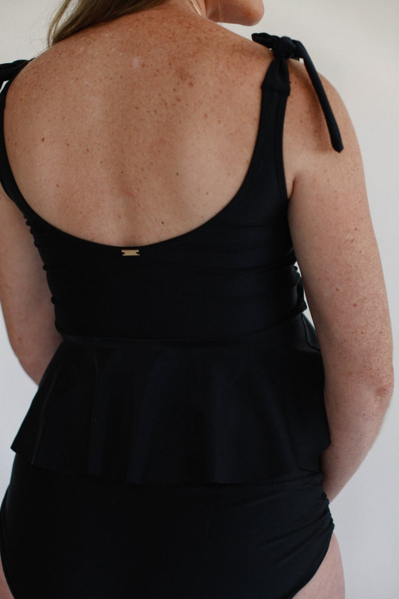 Tied Shoulder June Peplum Top - Black