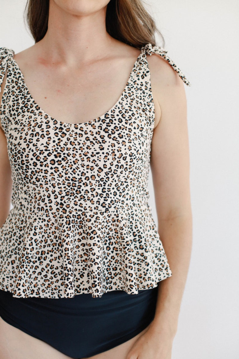 Tied Shoulder June Peplum Top - Leopard