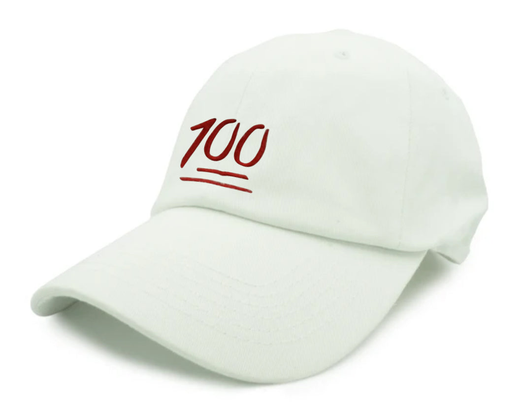 100 Embroidered Unstructured Dad Hat - White