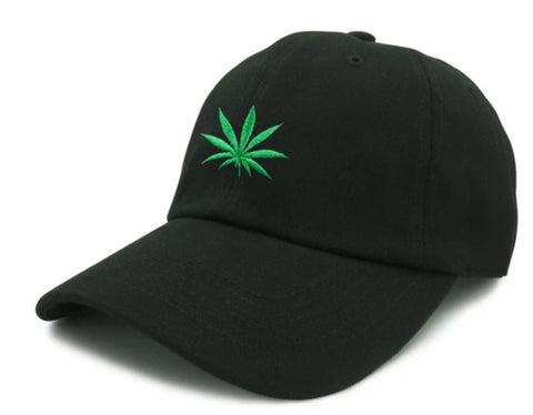 Weed Embroidered Unstructured Dad Hat - Black