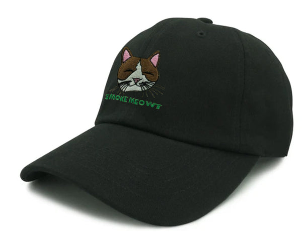 Smoke Meowt Embroidered Unstructured Dad Hat - Black