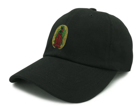 Virgin Mary Embroidered Unstructured Dad Hat - Black