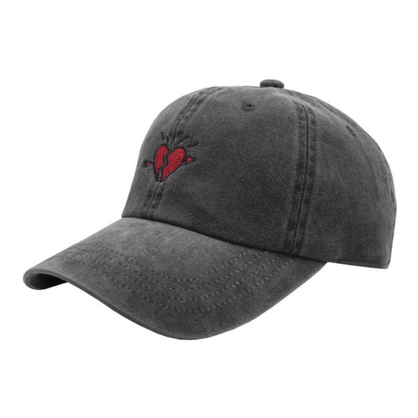 Broken Heart Dad Hat - Washed Black