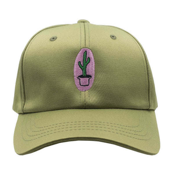 Chill Cactus Dad Hat - Satin Olive