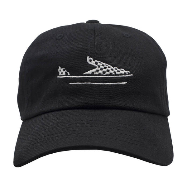 Checkered Slip On Dad Hat - Black