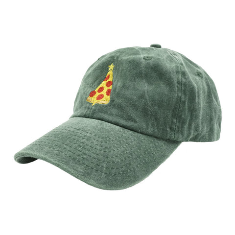 Christmas Pizza Dad Hat - Green Denim - Chill Hat