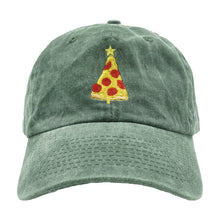 Load image into Gallery viewer, Christmas Pizza Dad Hat - Green Denim