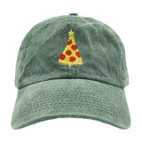 Christmas Pizza Dad Hat - Green Denim