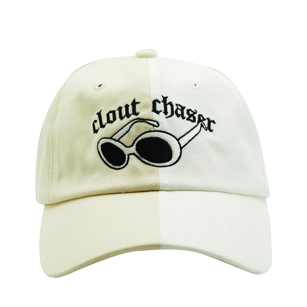 Clout Chaser Dad Hat - Two Tone White/Beige