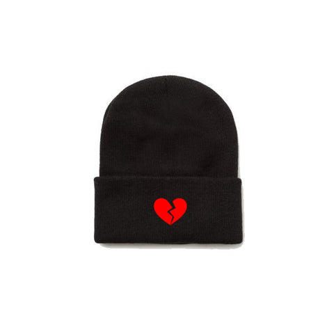 Broken Heart Beanie - Black With Red Thread