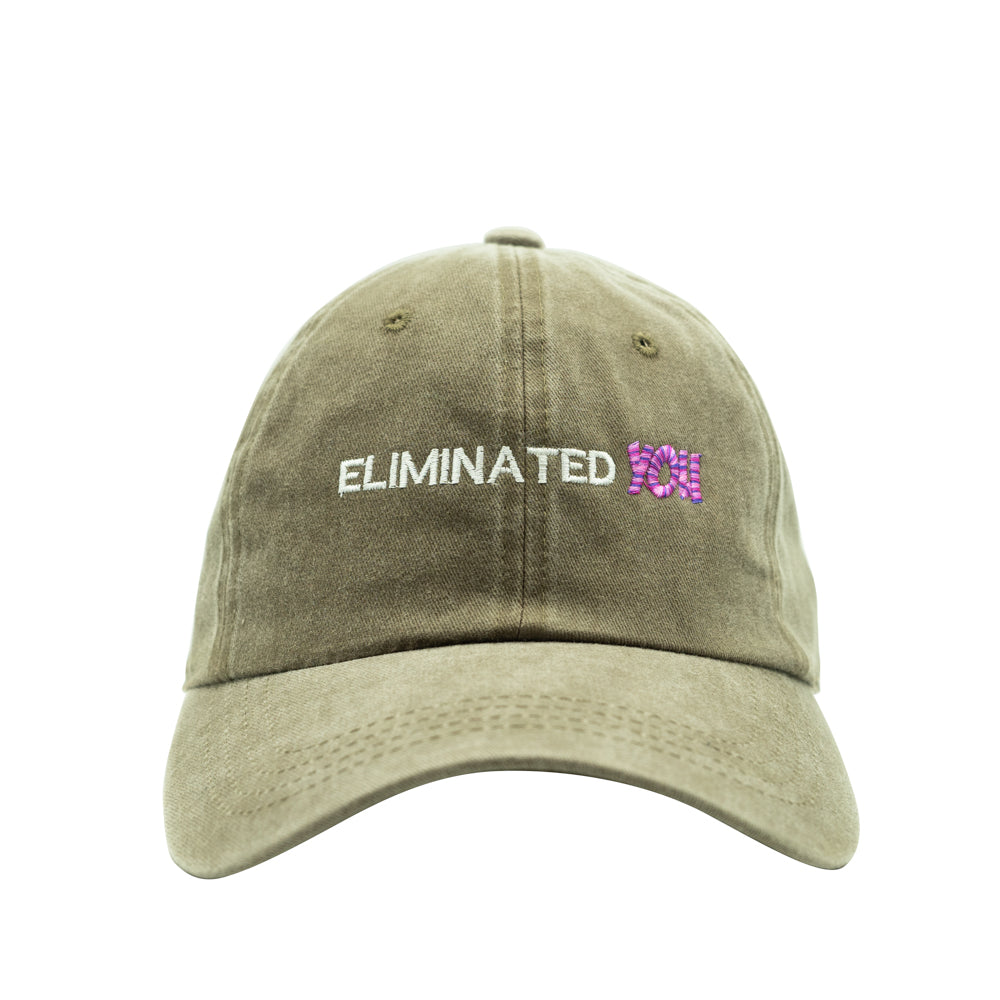 Eliminated You Dad Hat - Pigment Dye Olive Thick Stitch