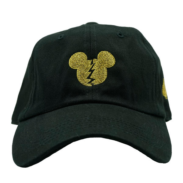 Golden Mouse Dad Hat- Black