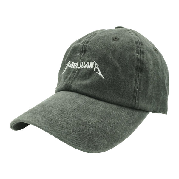 Marijuana Dad Hat - Black Denim