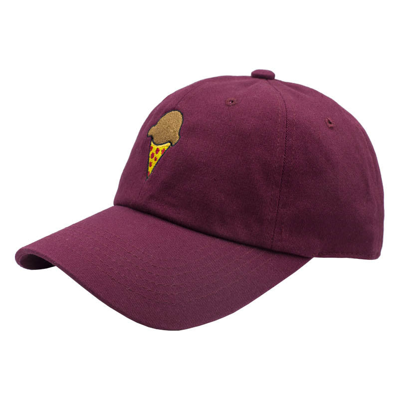 Pizza Cone Dad Hat - Maroon
