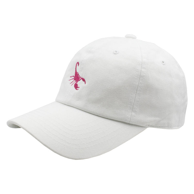 Pink Scorpion Dad Hat - White
