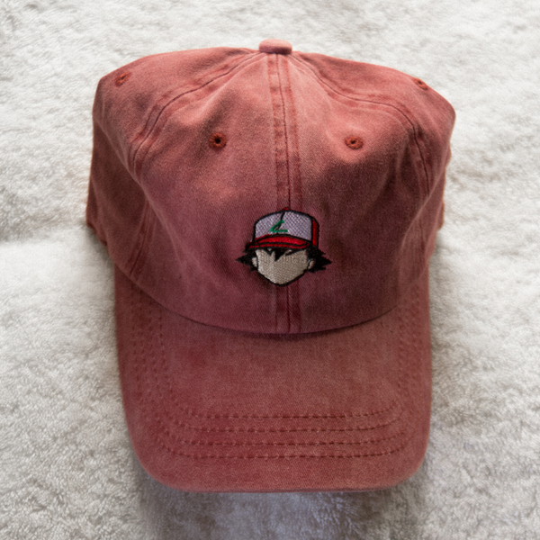 Blank Face Ash Dad Hat - Red Denim - Chill Hat