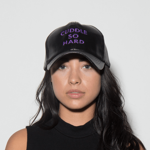 Cuddle So Hard Dad Hat - Black Pleather - Chill Hat