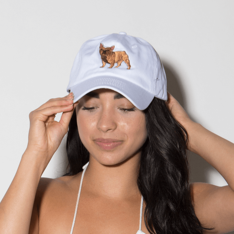 Frenchie Dog Dad Hat - White - Chill Hat