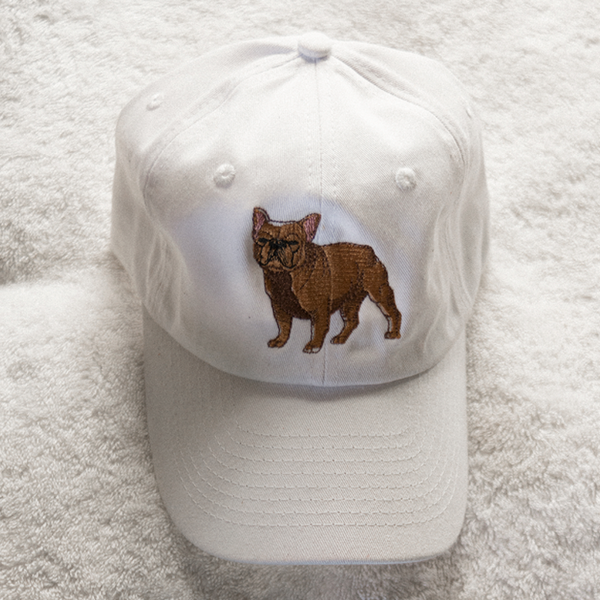 Frenchie Dog Dad Hat - White