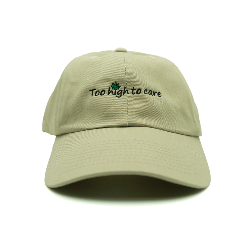 Too High To Care Dad Hat - Khaki - Chill Hat