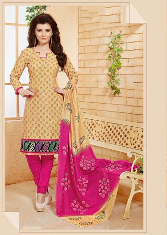 Elegant Embroidery Work Salwar Collection - Pink, Golden Yellow  Ready To Stitch Material / Simple And Beautiful Embroidery Work And Unique Color Combination Salwar Suits / Party / Festivals / Special Occasions /Casual - Ready to Stitch - Boutique4India Inc.