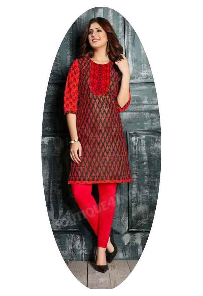 Maroon and Black Ravishing Printed Cotton Kurti