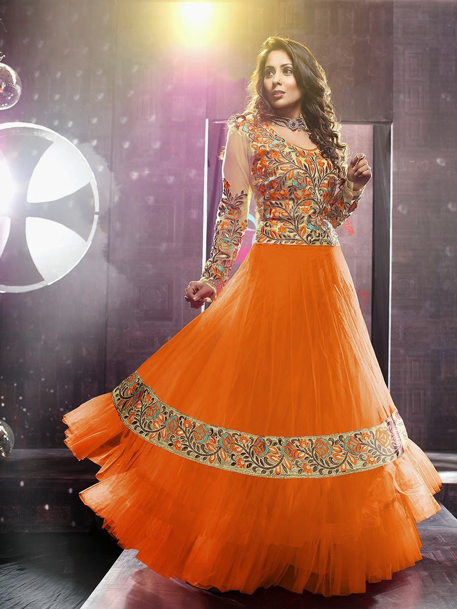Net Long Salwar - Orange And Ivory Unique Long Net And Embroidery Work Gorgeous Salwar Collection - Boutique4India Inc.