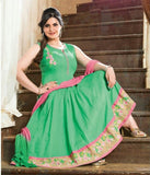 Heavy Work Anarkali Style Collection - Elegant Green, Pink And Golden Beautiful Anarkali Style Long Salwars With Dazzling Embroidery Work / Party / Special Occasions / Wedding / Casual - Ready to Stitch - Boutique4India Inc.