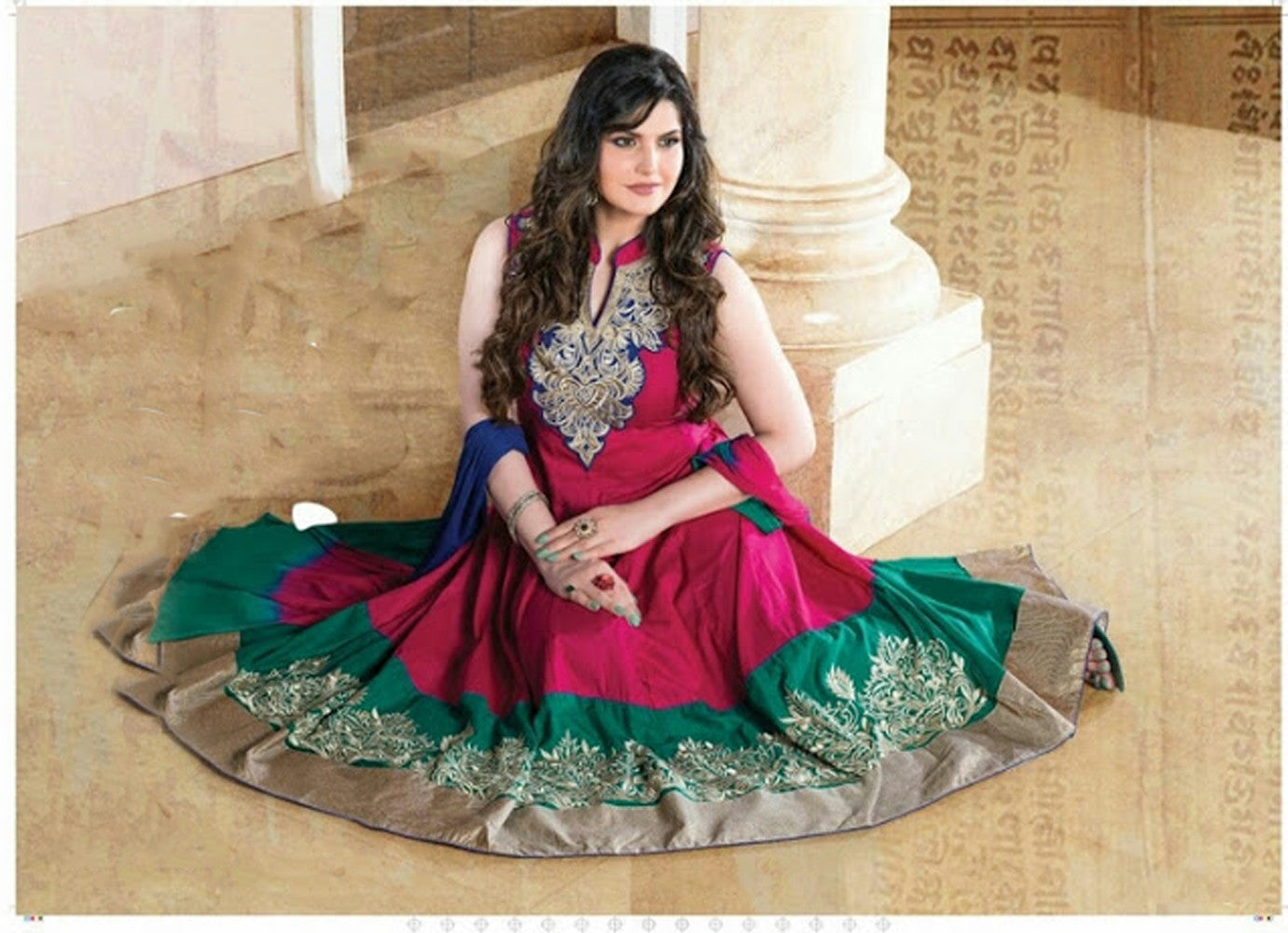 Heavy Work Anarkali Style Collection - Purplish Pink, Blue And Golden Ready To Stitch Material -Beautiful Anarkali Style Long Salwars With Dazzling Embroidery Work / Party / Special Occasions / Wedding / Casual - Ready to Stitch - Boutique4India Inc.
