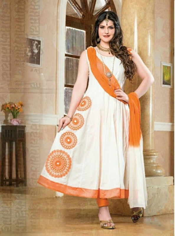 Heavy Work Anarkali Style Collection - Half White, Orange And Golden Ready To Stitch Material - Half White, Orange And Golden Beautiful Anarkali Style Long Salwars With Dazzling Embroidery Work / Party / Special Occasions / Wedding / Casual - Boutique4India Inc.