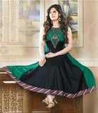 Heavy Work Anarkali Style Collection - Green, Black And Multi Color  Ready To Stitch Material - Green, Black And Multi Color Beautiful Anarkali Style Long Salwars With Dazzling Embroidery Work / Party / Special Occasions / Wedding / Casual - Boutique4India Inc.