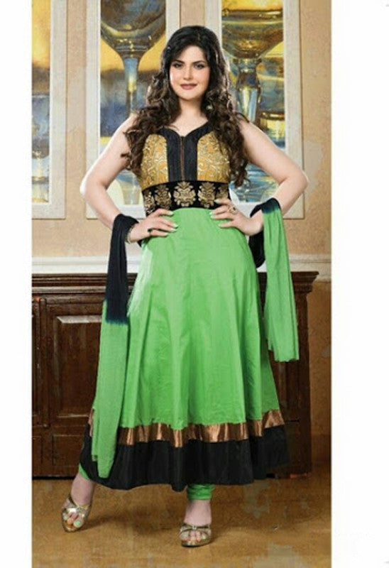 Heavy Work Anarkali Style Collection - Light Green, Golden Yellow, Golden And Black  Ready To Stitch Material / Beautiful Anarkali Style Long Salwars With Dazzling Embroidery Work / Party / Special Occasions / Wedding / Casual - Ready to Stitch - Boutique4India Inc.