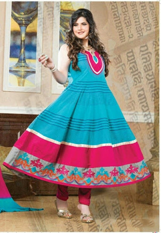 Heavy Work Anarkali Style Collection - Breezy Blue, Pink And Orange  Ready To Stitch Material / Beautiful Anarkali Style Long Salwars With Dazzling Embroidery Work / Party / Special Occasions / Wedding / Casual - Ready to Stitch - Boutique4India Inc.