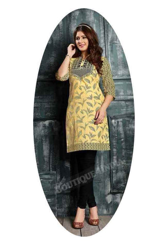Yellow Ravishing Printed Cotton Kurti