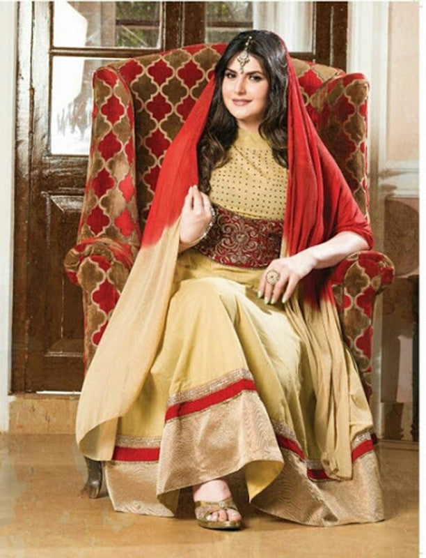 Heavy Work Anarkali Style Collection - Maroon And Golden Ready To Stitch Material /  Beautiful Anarkali Style Long Salwars With Dazzling Embroidery Work / Party / Special Occasions / Wedding / Casual - Ready to Stitch - Boutique4India Inc.