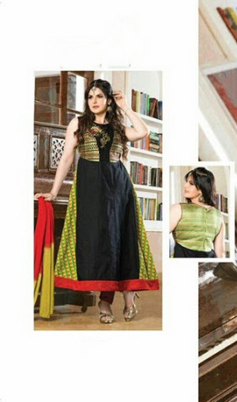 Heavy Work Anarkali Style Collection - Black, Green, Golden And Red  Ready To Stitch Material / Beautiful Anarkali Style Long Salwars With Dazzling Embroidery Work / Party / Special Occasions / Wedding / Casual - Ready to Stitch - Boutique4India Inc.