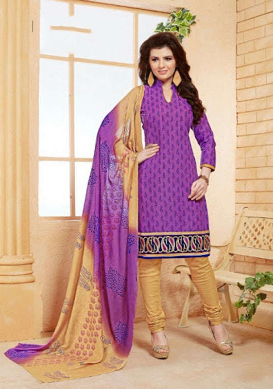 Elegant Embroidery Work Salwar Collection - Purple And Blue  Ready To Stitch Material - Purple And Blue Simple And Beautiful Embroidery Work And Unique Color Combination Salwar Suits / Party / Festivals / Special Occasions /Casual - Ready to Stitch - Boutique4India Inc.