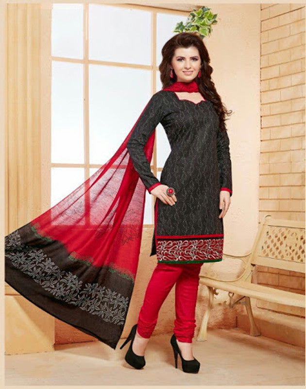 Elegant Embroidery Work Salwar Collection - Red And Black  Ready To Stitch Material - Red And Black Simple And Beautiful Embroidery Work And Unique Color Combination Salwar Suits / Party / Festivals / Special Occasions /Casual - Ready to Stitch - Boutique4India Inc.